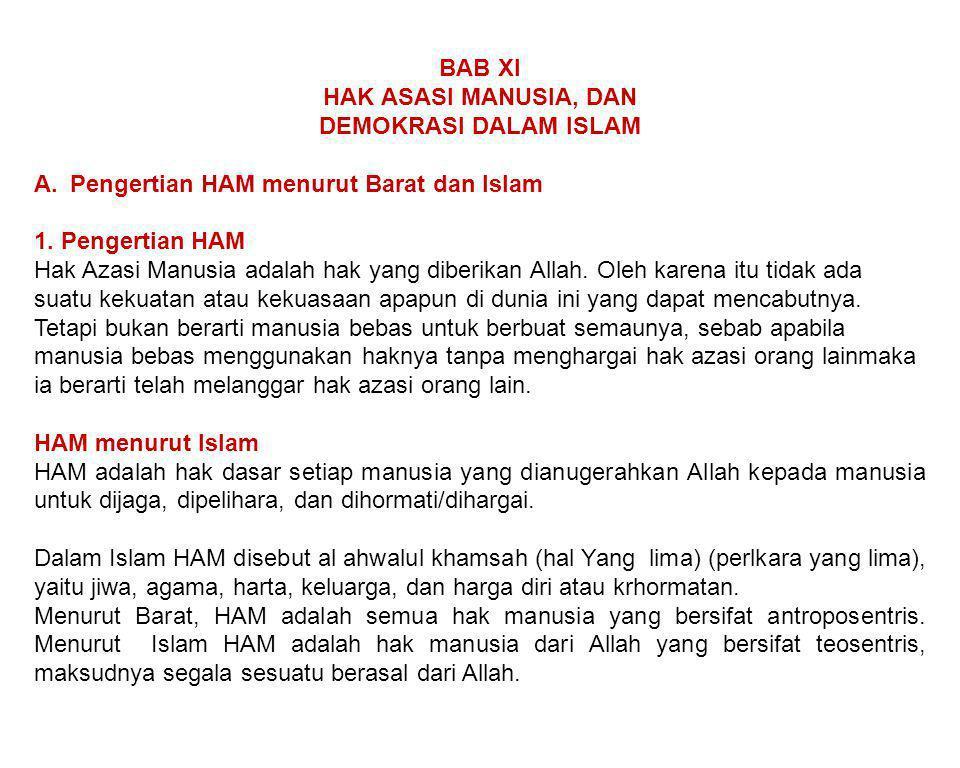 BAB XI HAK ASASI MANUSIA, DAN DEMOKRASI DALAM ISLAM A.Pengertian HAM menurut Barat dan Islam 1. Pengertian HAM Hak Azasi Manusia adalah hak yang diber