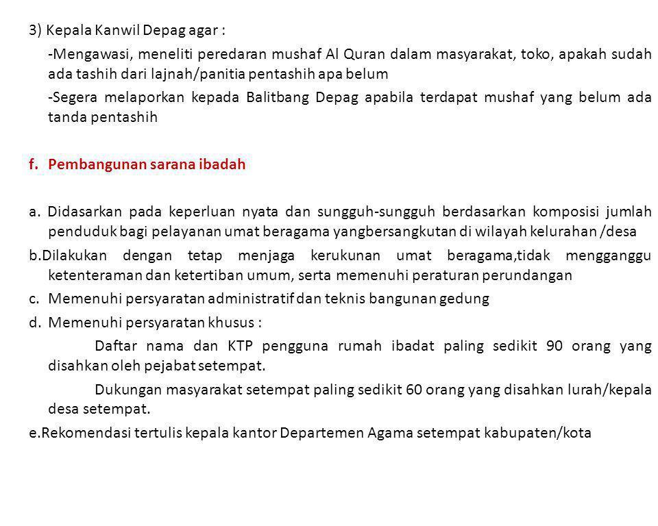3) Kepala Kanwil Depag agar : -Mengawasi, meneliti peredaran mushaf Al Quran dalam masyarakat, toko, apakah sudah ada tashih dari lajnah/panitia penta