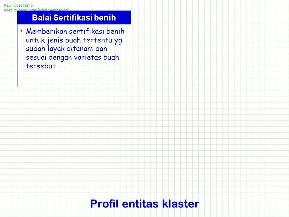 Kawi Boedisetio telebiro.bandung0@clubmember.org Profil entitas klaster Balai Sertifikasi benih Memberikan sertifikasi benih untuk jenis buah tertentu yg sudah layak ditanam dan sesuai dengan varietas buah tersebut