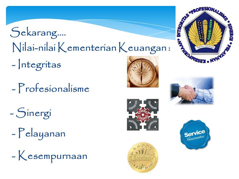 Sekarang…. - Integritas - Profesionalisme - Sinergi - Pelayanan - Kesempurnaan Nilai-nilai Kementerian Keuangan :