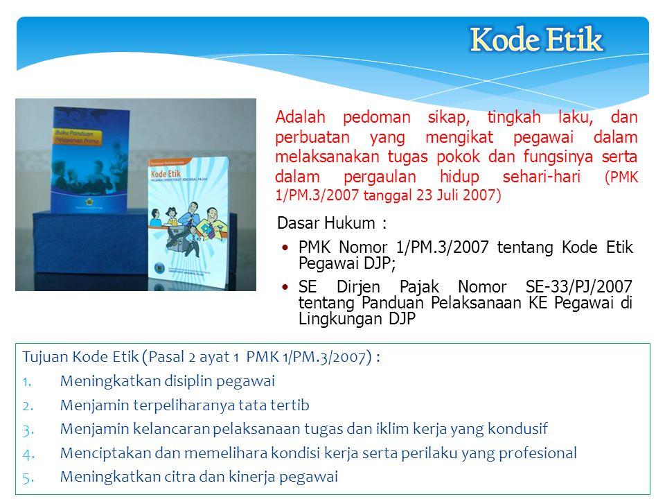 Dasar Hukum : PMK Nomor 1/PM.3/2007 tentang Kode Etik Pegawai DJP; SE Dirjen Pajak Nomor SE-33/PJ/2007 tentang Panduan Pelaksanaan KE Pegawai di Lingk