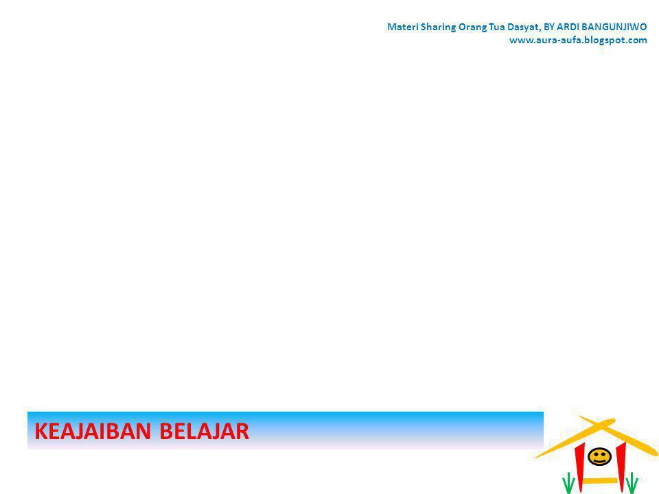 KEAJAIBAN BELAJAR Materi Sharing Orang Tua Dasyat, BY ARDI BANGUNJIWO www.aura-aufa.blogspot.com