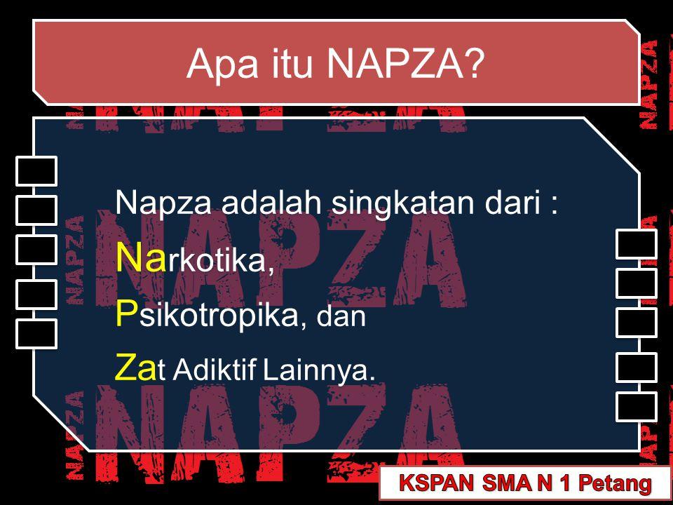 Pengertian NAPZA Napza = –N–Narkotika –P–Psikotropika –Z–Zat adiktif zat-zat alamiah maupun sintetik dari bahan candu/kokaina atau turunannya dan padanannya yang mempunyai efek psikoaktif (menurunkan/mengubah kesadaran)