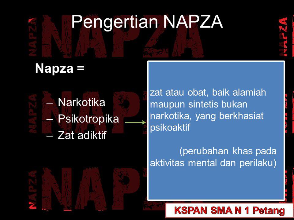 Napza = –Narkotika –Psikotropika –Zat adiktif zat atau obat, baik alamiah maupun sintetis bukan narkotika, yang berkhasiat psikoaktif (perubahan khas