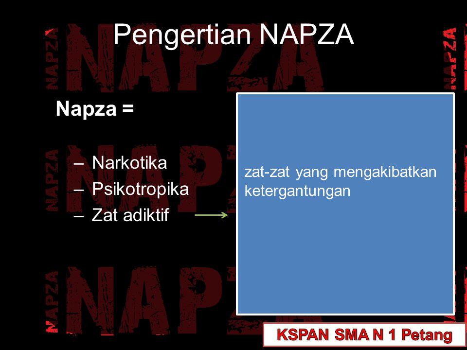 Pengertian NAPZA Napza = –Narkotika –Psikotropika –Zat adiktif zat-zat yang mengakibatkan ketergantungan