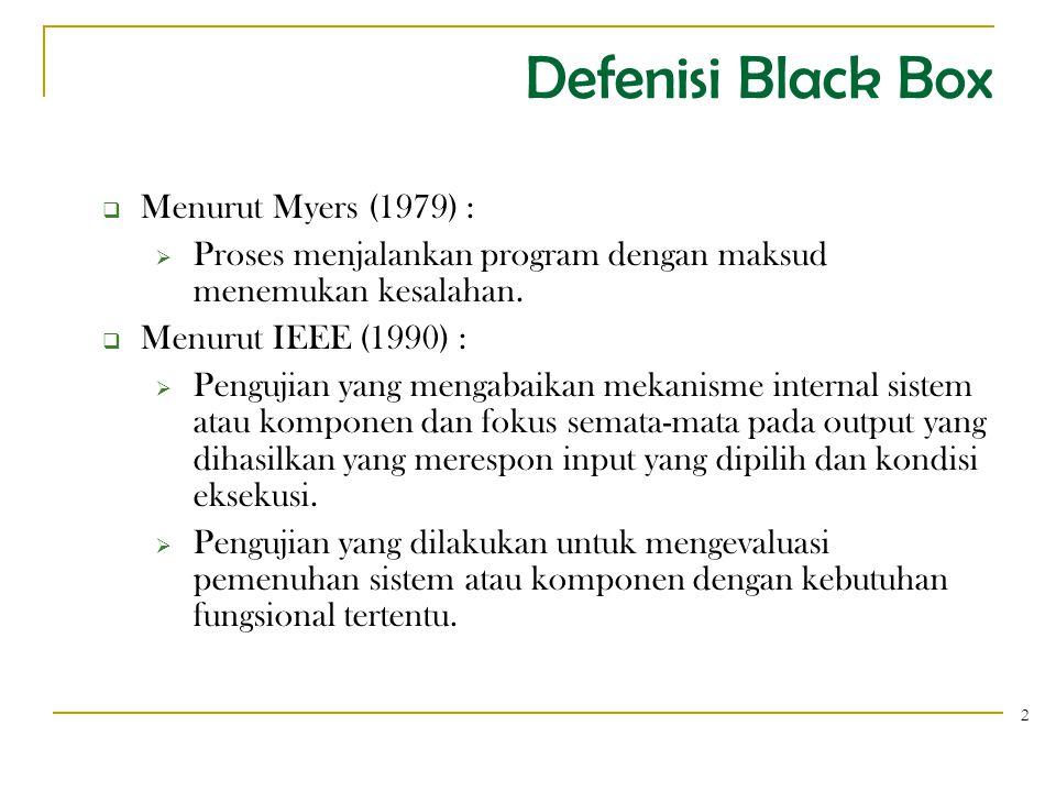 Defenisi Black Box 2  Menurut Myers (1979) :  Proses menjalankan program dengan maksud menemukan kesalahan.  Menurut IEEE (1990) :  Pengujian yang