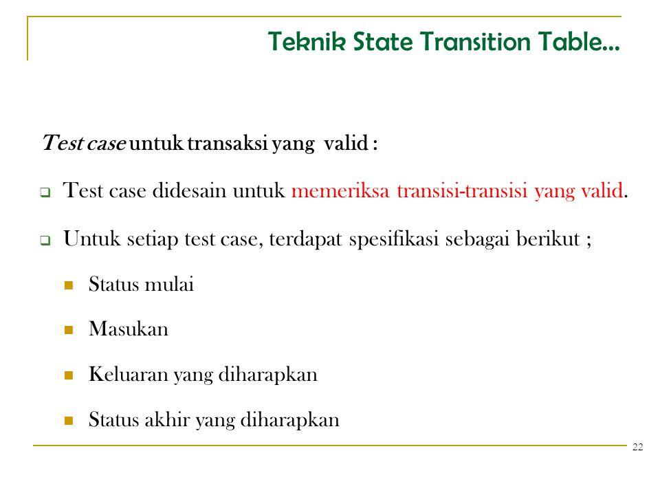 Teknik State Transition Table... Test case untuk transaksi yang valid :  Test case didesain untuk memeriksa transisi-transisi yang valid.  Untuk set