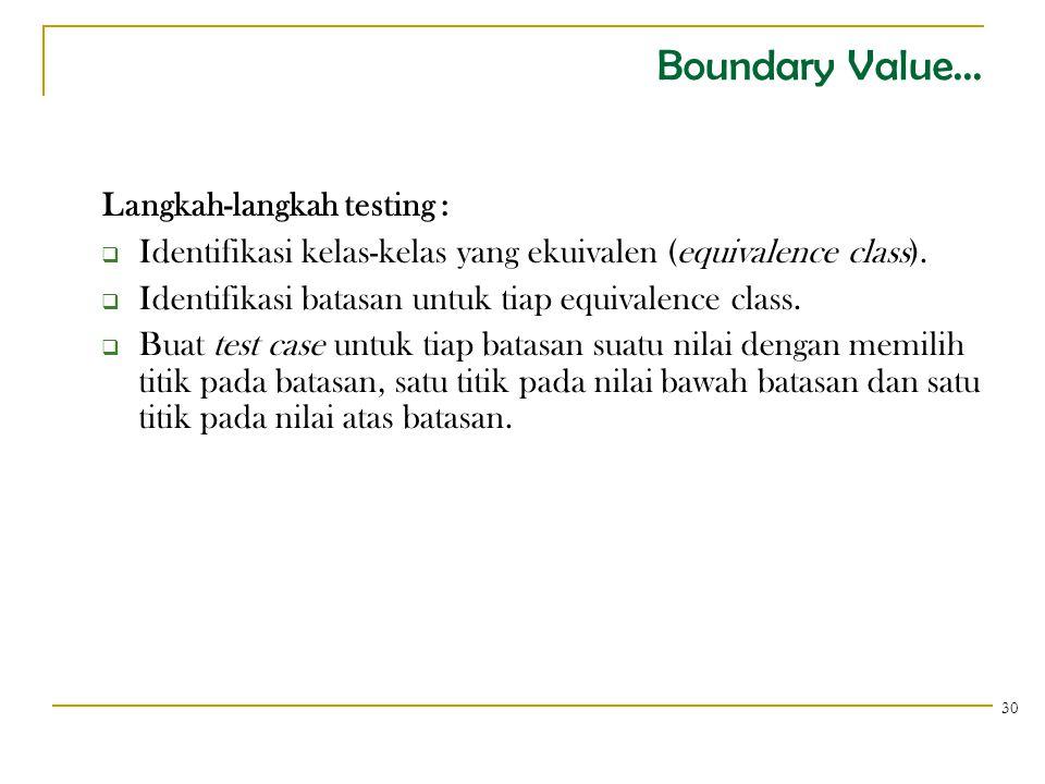 Boundary Value... Langkah-langkah testing :  Identifikasi kelas-kelas yang ekuivalen (equivalence class).  Identifikasi batasan untuk tiap equivalen