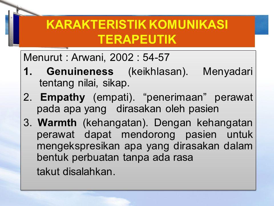LOGO KARAKTERISTIK KOMUNIKASI TERAPEUTIK Menurut : Arwani, 2002 : 54-57 1. Genuineness (keikhlasan). Menyadari tentang nilai, sikap. 2. Empathy (empat