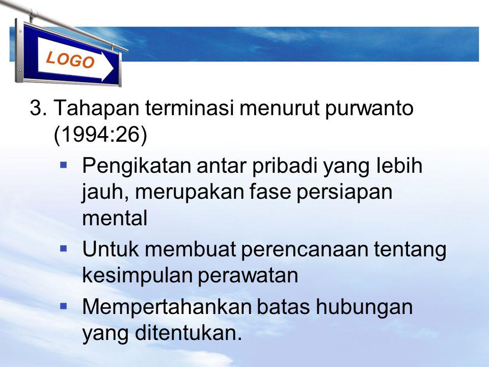 LOGO 3. Tahapan terminasi menurut purwanto (1994:26)  Pengikatan antar pribadi yang lebih jauh, merupakan fase persiapan mental  Untuk membuat peren
