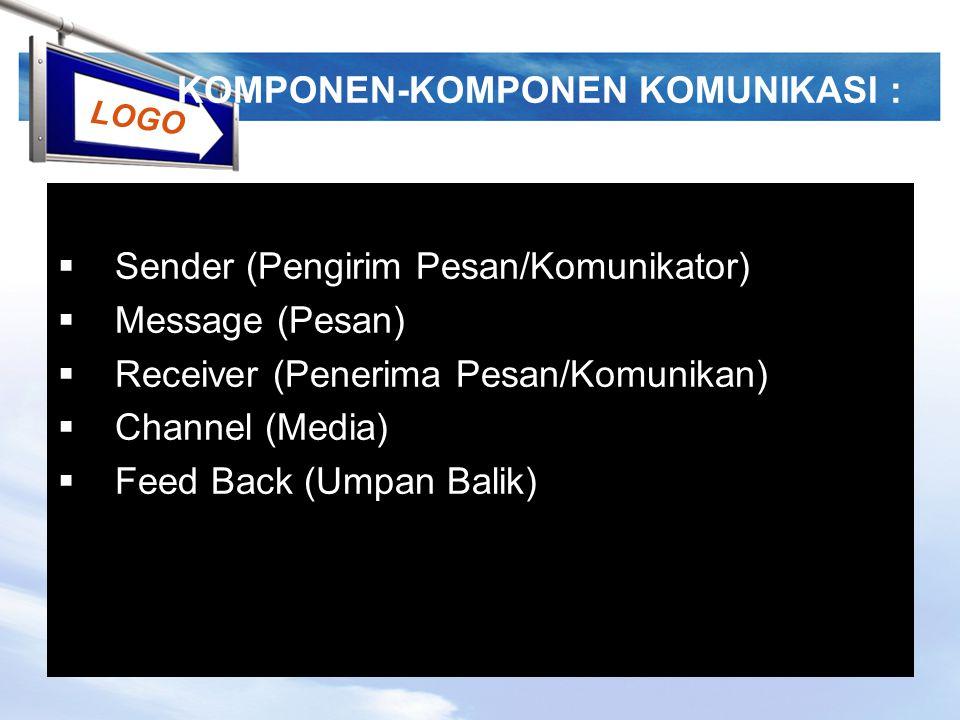 LOGO KOMPONEN-KOMPONEN KOMUNIKASI :  Sender (Pengirim Pesan/Komunikator)  Message (Pesan)  Receiver (Penerima Pesan/Komunikan)  Channel (Media) 