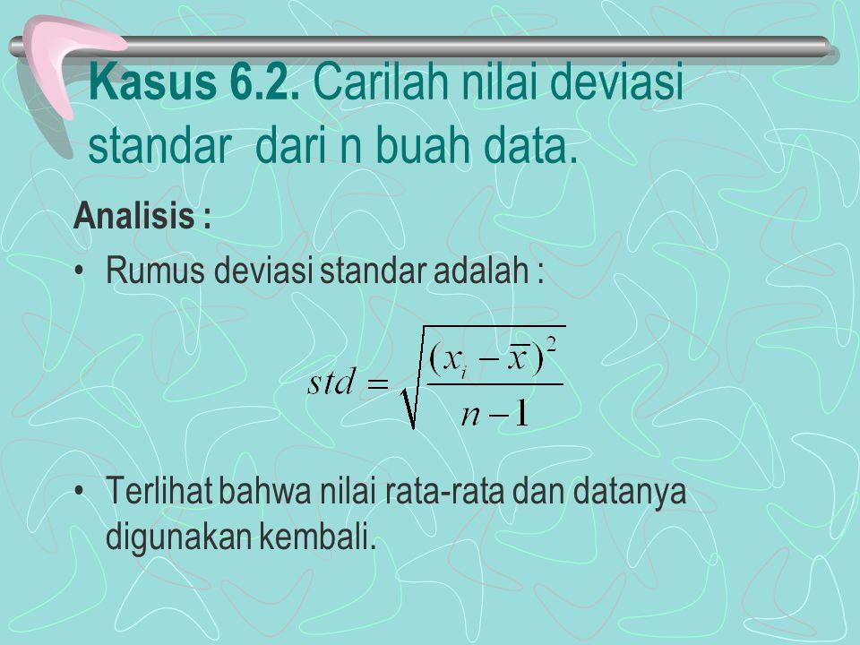 Kasus 6.2. Carilah nilai deviasi standar dari n buah data. Analisis : Rumus deviasi standar adalah : Terlihat bahwa nilai rata-rata dan datanya diguna