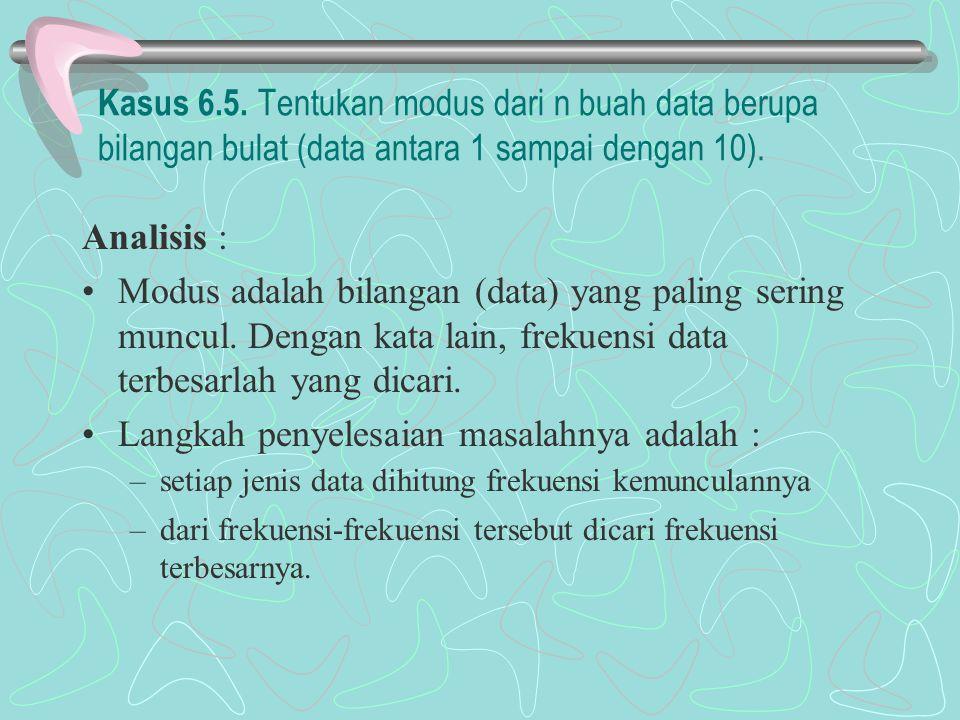 Kasus 6.5. Tentukan modus dari n buah data berupa bilangan bulat (data antara 1 sampai dengan 10). Analisis : Modus adalah bilangan (data) yang paling