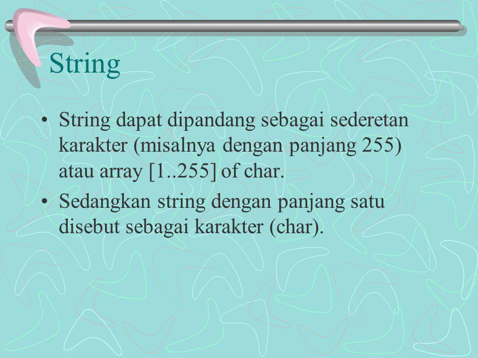 String String dapat dipandang sebagai sederetan karakter (misalnya dengan panjang 255) atau array [1..255] of char. Sedangkan string dengan panjang sa
