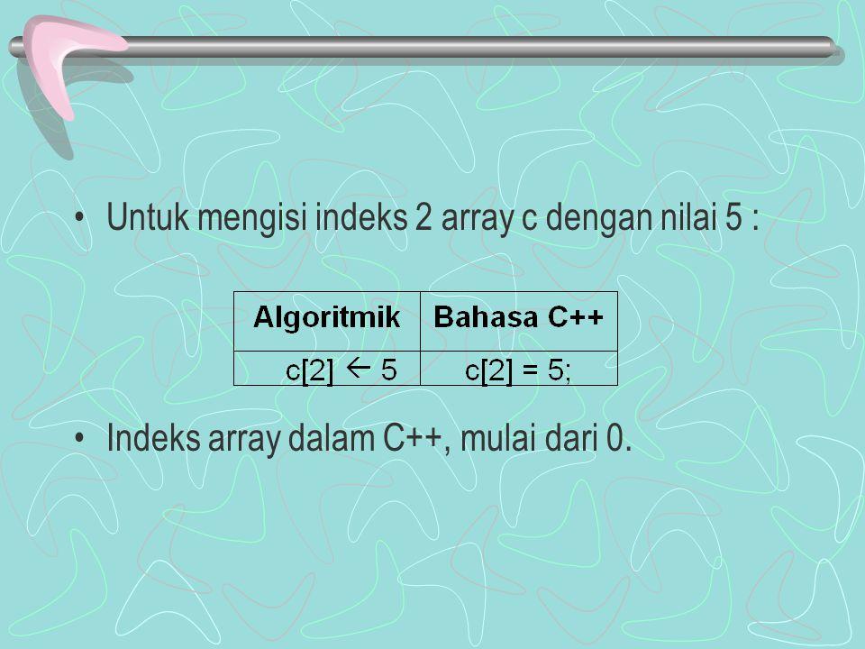 Untuk mengisi indeks 2 array c dengan nilai 5 : Indeks array dalam C++, mulai dari 0.