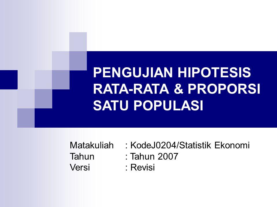 UJI HIPOTESIS RATA-RATA POPULASI DUA ARAH (n ≥ 30) Hipotesis H 0 :  =  0 H a :    0 Statistik Uji   diketahui  tidak diketahui Aturan penolakan Tolak H 0 jika