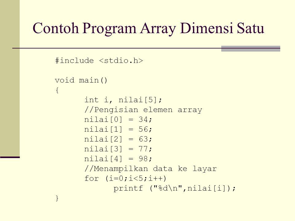 Contoh Program Array Dimensi Satu #include void main() { int i, nilai[5]; //Pengisian elemen array nilai[0] = 34; nilai[1] = 56; nilai[2] = 63; nilai[