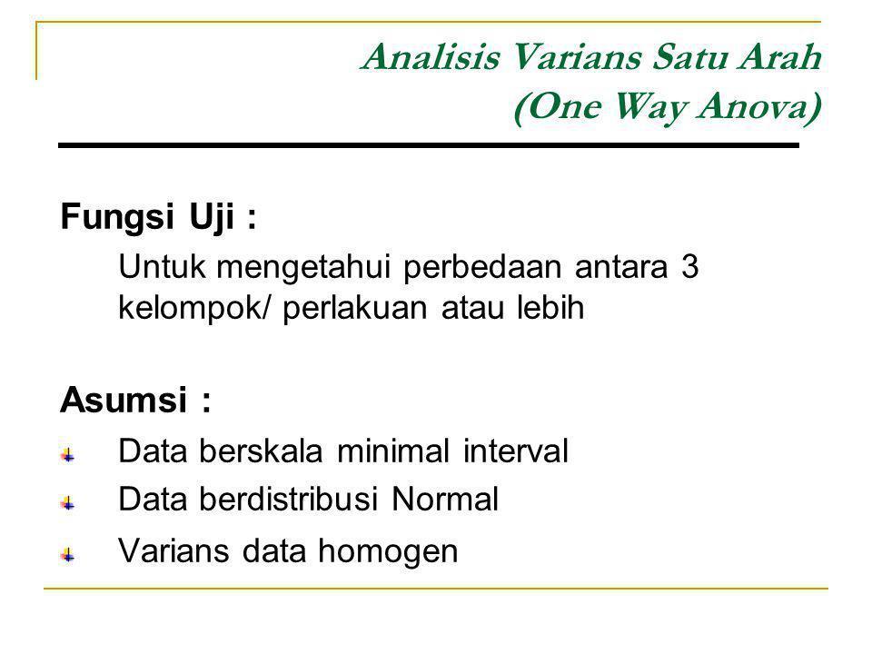 Analisis Varians Satu Arah (One Way Anova) Fungsi Uji : Untuk mengetahui perbedaan antara 3 kelompok/ perlakuan atau lebih Asumsi : Data berskala mini