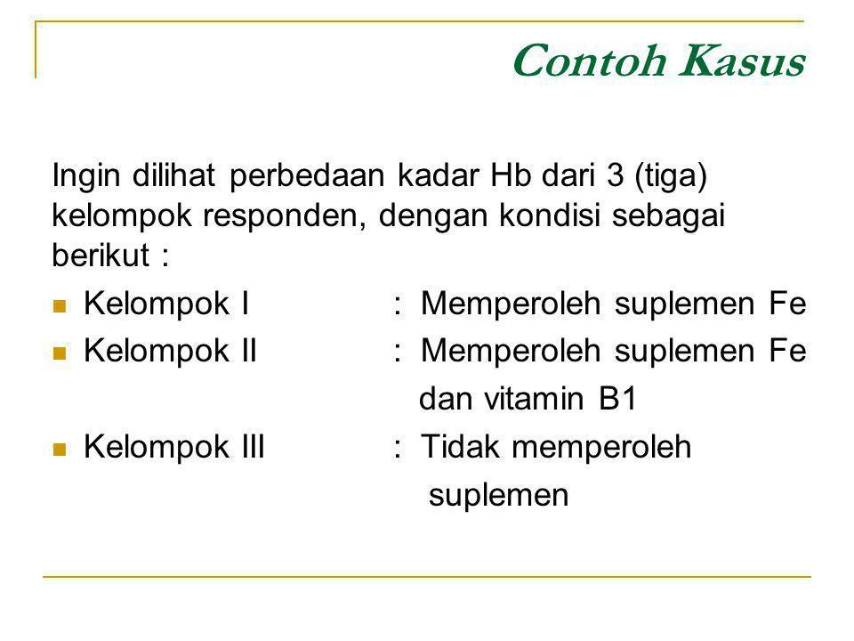 Contoh Kasus Ingin dilihat perbedaan kadar Hb dari 3 (tiga) kelompok responden, dengan kondisi sebagai berikut : Kelompok I: Memperoleh suplemen Fe Ke