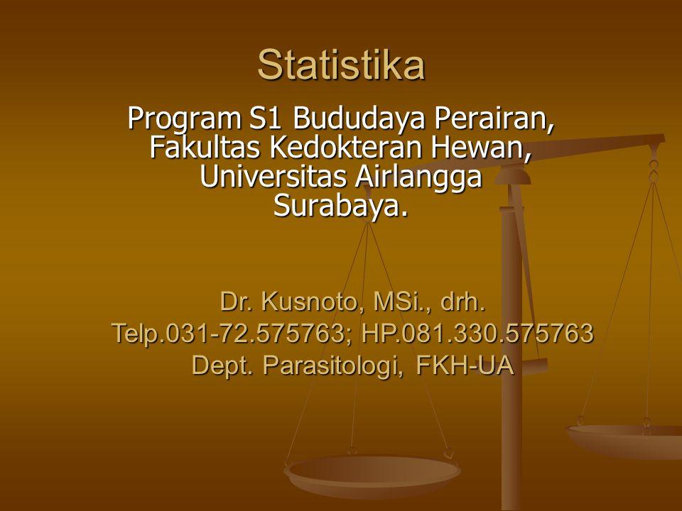 Statistika Program S1 Bududaya Perairan, Fakultas Kedokteran Hewan, Universitas Airlangga Surabaya. Dr. Kusnoto, MSi., drh. Telp.031-72.575763; HP.081