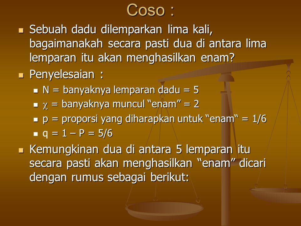 Coso : Sebuah dadu dilemparkan lima kali, bagaimanakah secara pasti dua di antara lima lemparan itu akan menghasilkan enam? Sebuah dadu dilemparkan li