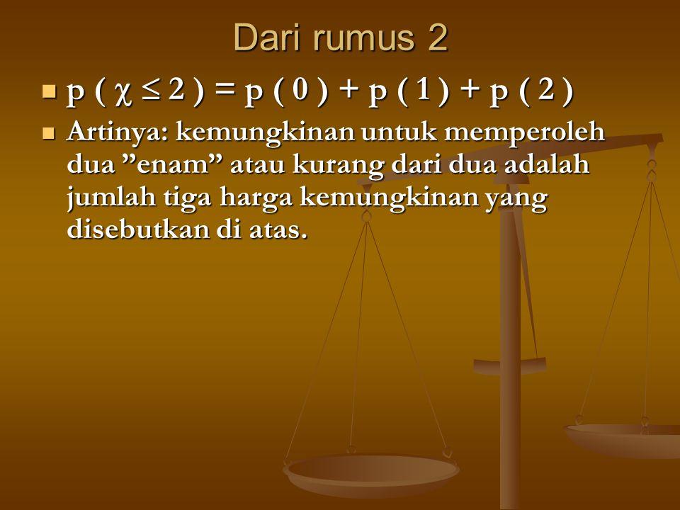 "Dari rumus 2 p (   2 ) = p ( 0 ) + p ( 1 ) + p ( 2 ) p (   2 ) = p ( 0 ) + p ( 1 ) + p ( 2 ) Artinya: kemungkinan untuk memperoleh dua ""enam"" atau"