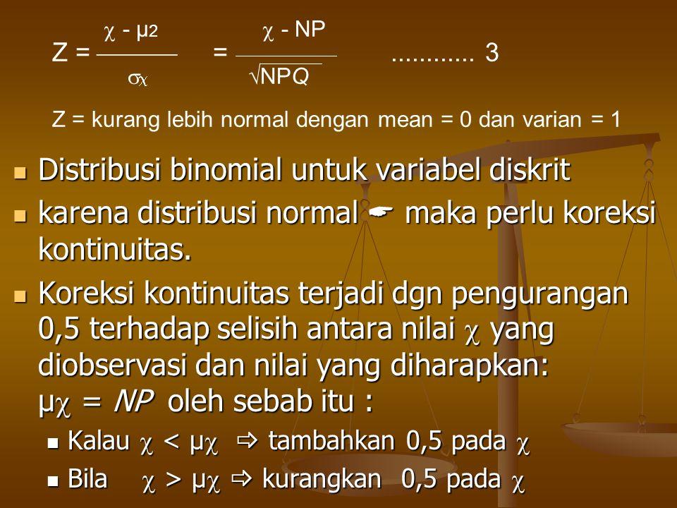 Distribusi binomial untuk variabel diskrit Distribusi binomial untuk variabel diskrit karena distribusi normal  maka perlu koreksi kontinuitas. karen