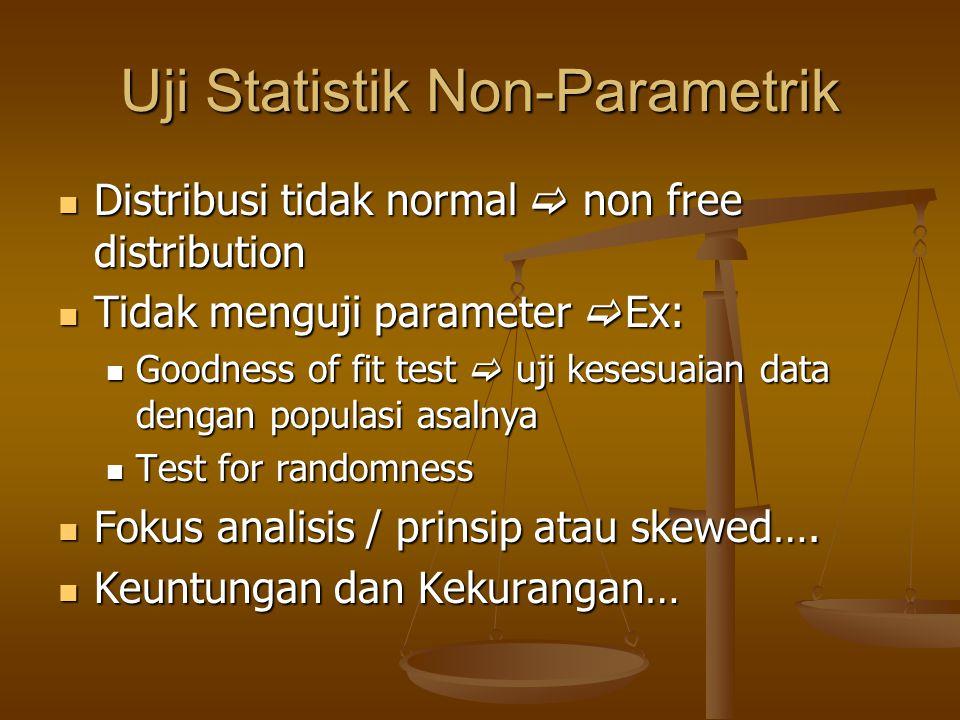 Uji Statistik Non-Parametrik Distribusi tidak normal  non free distribution Distribusi tidak normal  non free distribution Tidak menguji parameter 