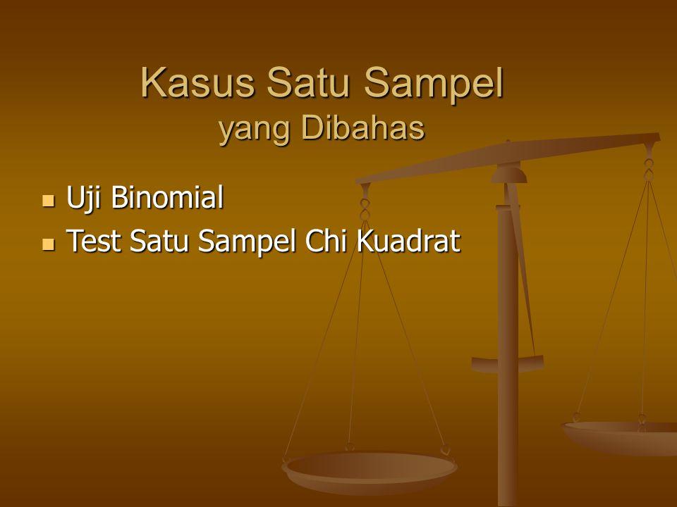 Kasus Satu Sampel yang Dibahas Uji Binomial Uji Binomial Test Satu Sampel Chi Kuadrat Test Satu Sampel Chi Kuadrat