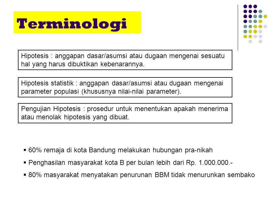 Terminologi Pengujian Hipotesis : prosedur untuk menentukan apakah menerima atau menolak hipotesis yang dibuat. Hipotesis : anggapan dasar/asumsi atau