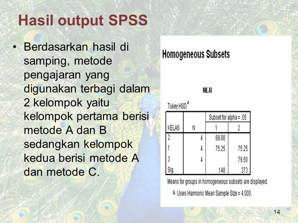 Hasil output SPSS Berdasarkan hasil di samping, metode pengajaran yang digunakan terbagi dalam 2 kelompok yaitu kelompok pertama berisi metode A dan B