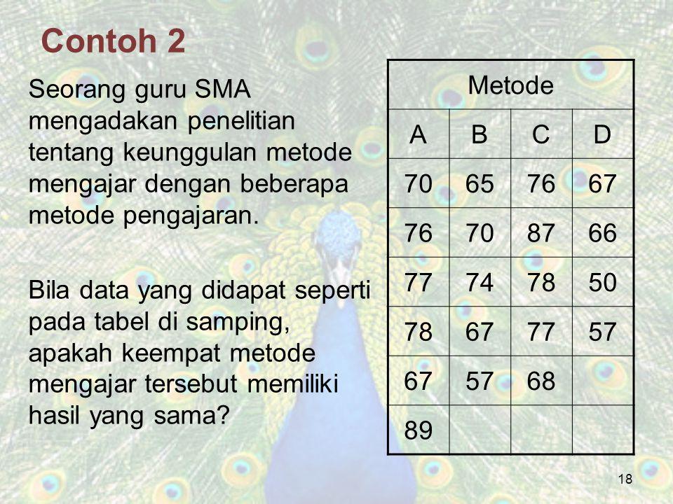 18 Contoh 2 Seorang guru SMA mengadakan penelitian tentang keunggulan metode mengajar dengan beberapa metode pengajaran. Bila data yang didapat sepert
