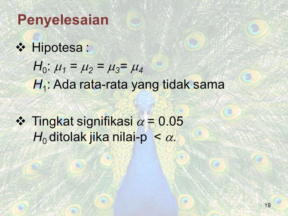 19 Penyelesaian  Hipotesa : H 0 :  1 =  2 =  3 =  4 H 1 : Ada rata-rata yang tidak sama  Tingkat signifikasi  = 0.05 H 0 ditolak jika nilai-p <