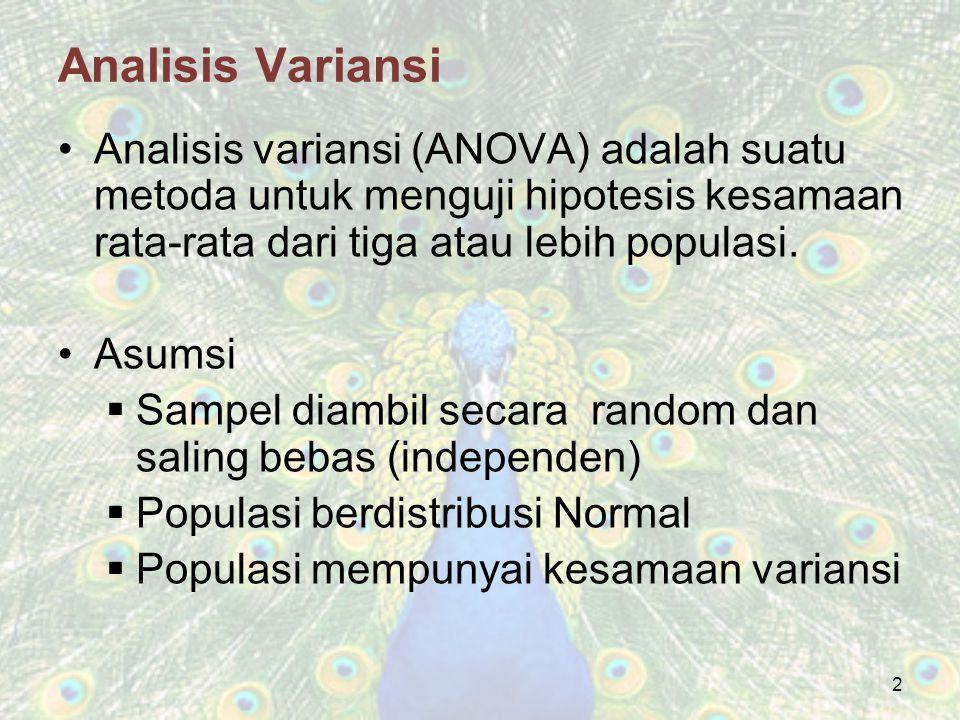 2 Analisis variansi (ANOVA) adalah suatu metoda untuk menguji hipotesis kesamaan rata-rata dari tiga atau lebih populasi. Asumsi  Sampel diambil seca