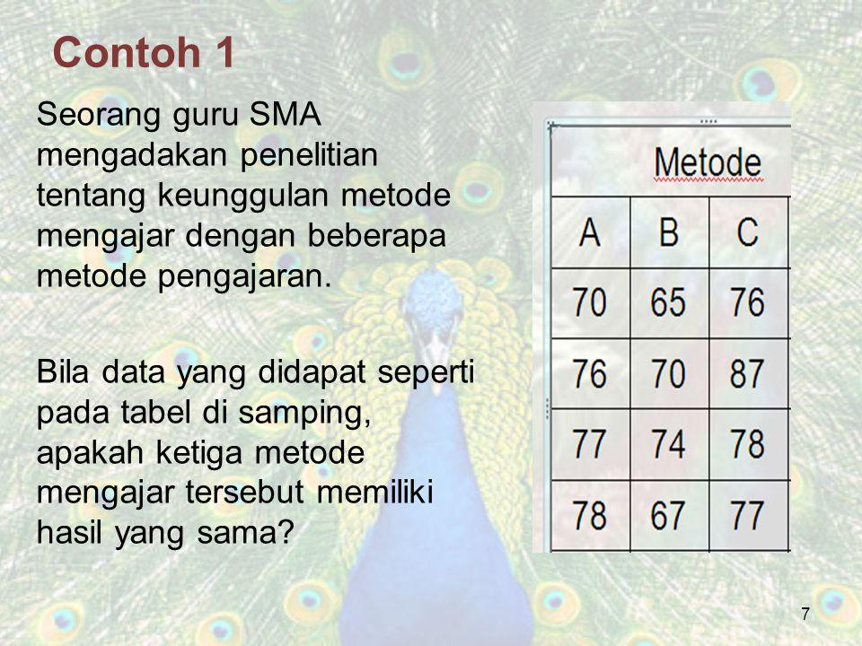 7 Contoh 1 Seorang guru SMA mengadakan penelitian tentang keunggulan metode mengajar dengan beberapa metode pengajaran. Bila data yang didapat seperti