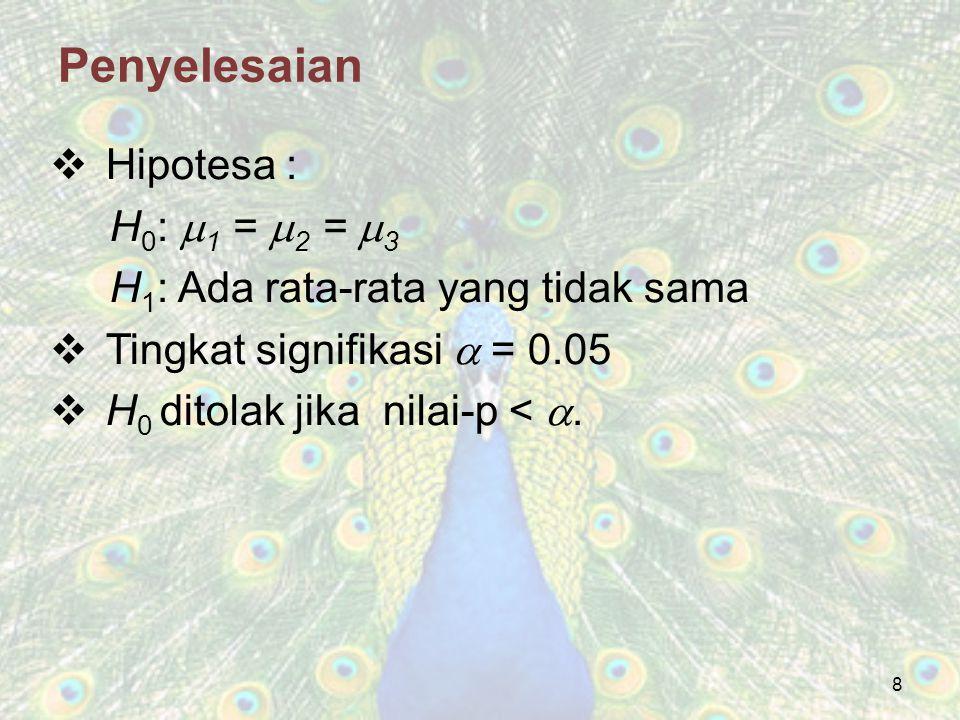 19 Penyelesaian  Hipotesa : H 0 :  1 =  2 =  3 =  4 H 1 : Ada rata-rata yang tidak sama  Tingkat signifikasi  = 0.05 H 0 ditolak jika nilai-p < .