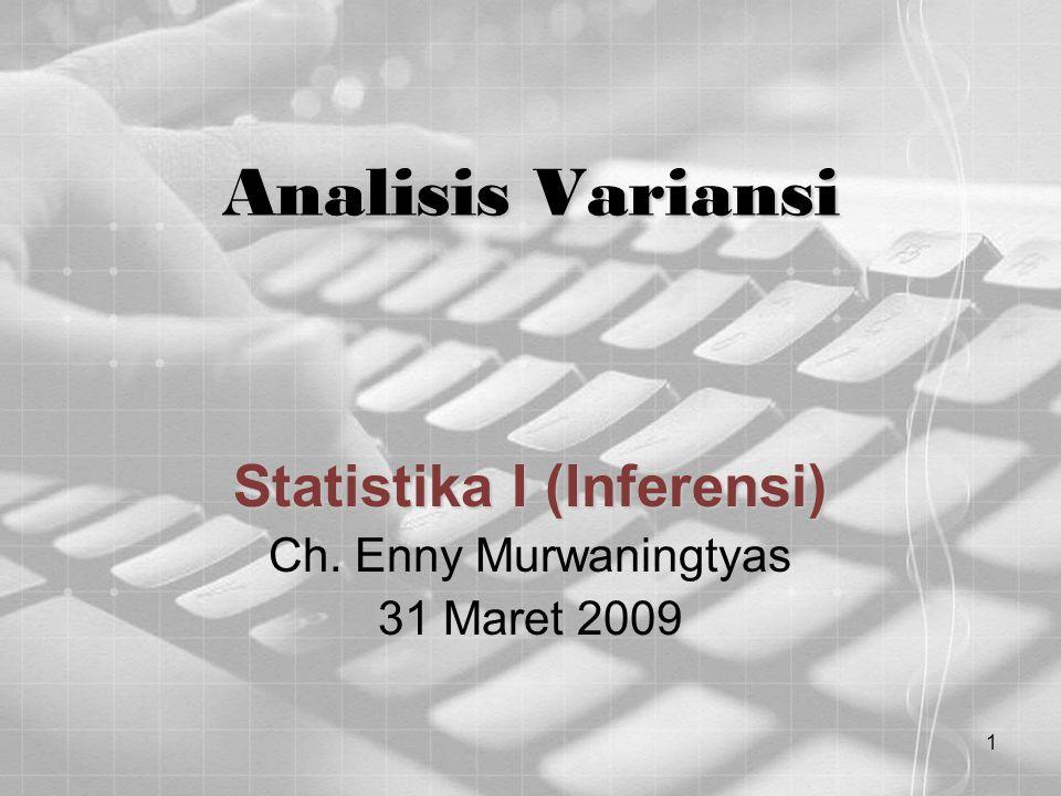 1 Analisis Variansi Statistika I (Inferensi) Ch. Enny Murwaningtyas 31 Maret 2009