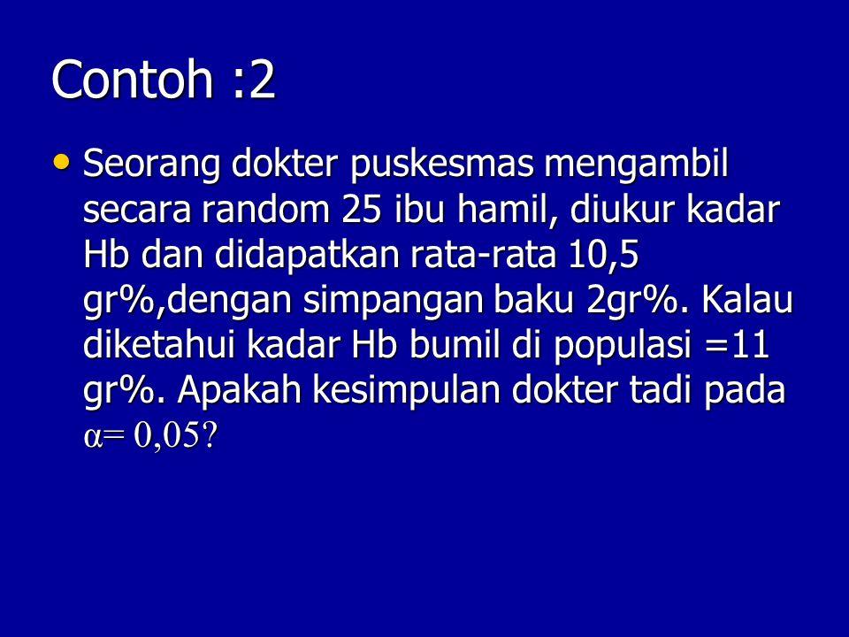 Contoh :2 Seorang dokter puskesmas mengambil secara random 25 ibu hamil, diukur kadar Hb dan didapatkan rata-rata 10,5 gr%,dengan simpangan baku 2gr%.