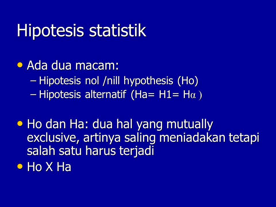 Hipotesis statistik Ada dua macam: Ada dua macam: –Hipotesis nol /nill hypothesis (Ho) –Hipotesis alternatif (Ha= H1= H α ) Ho dan Ha: dua hal yang mutually exclusive, artinya saling meniadakan tetapi salah satu harus terjadi Ho dan Ha: dua hal yang mutually exclusive, artinya saling meniadakan tetapi salah satu harus terjadi Ho X Ha Ho X Ha