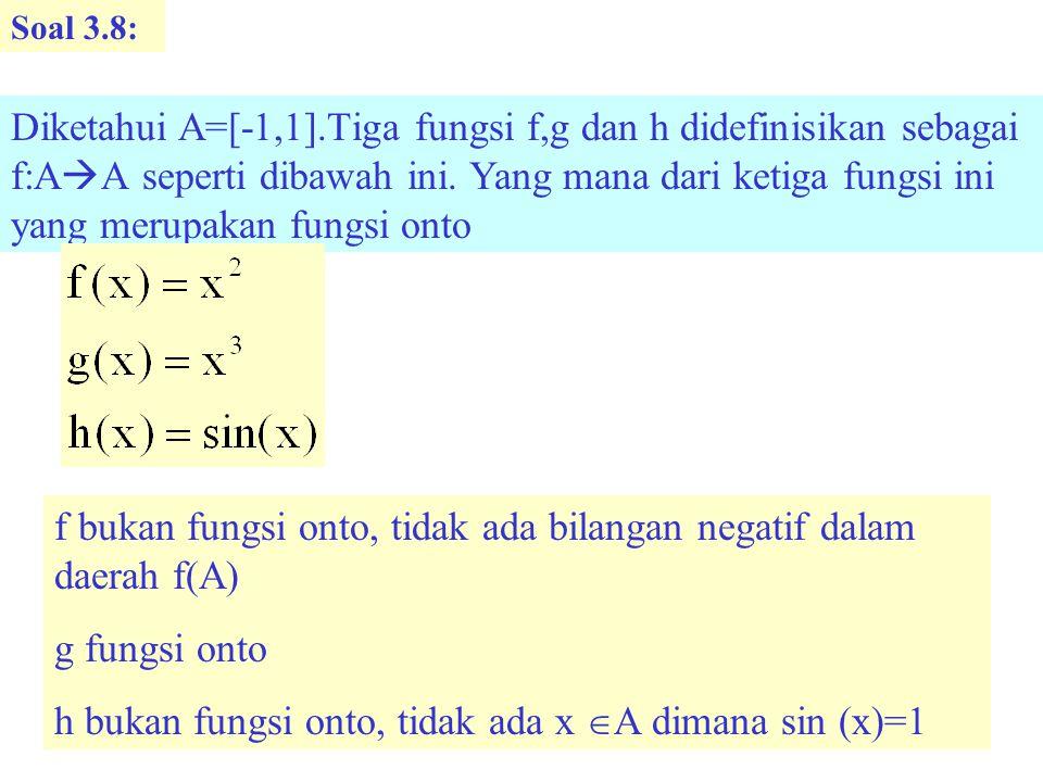 Soal 3.8: Diketahui A=[-1,1].Tiga fungsi f,g dan h didefinisikan sebagai f:A  A seperti dibawah ini.