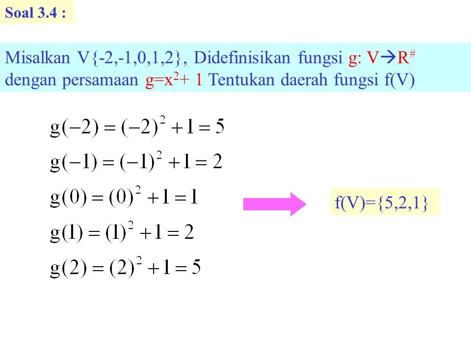 Soal 3.5: Diketahui A{a,b,c,d,e} dan B{x x adalah huruf alfabet} Tiga fungsi f,g dan h didefinisikan seperti dibawah ini.