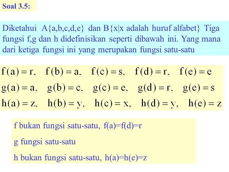Soal 3.5: Diketahui A{a,b,c,d,e} dan B{x|x adalah huruf alfabet} Tiga fungsi f,g dan h didefinisikan seperti dibawah ini.