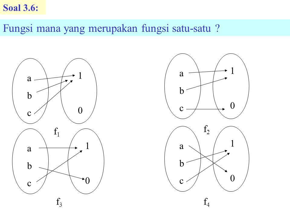 Soal 3.14 : Misalkan W{1,2,3,4,5}, Didefinisikan fungsi f: W  W, g: W  W dan h: W  W dengan diagram-diagram dibawah ini.