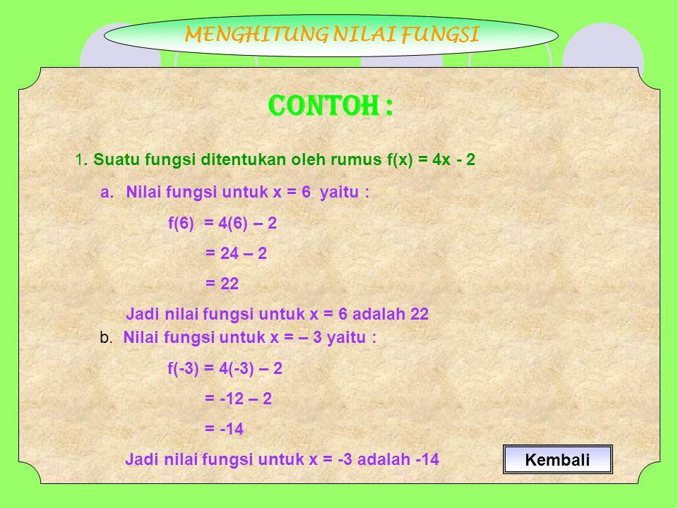 MENGHITUNG NILAI FUNGSI CONTOH : 1. Suatu fungsi ditentukan oleh rumus f(x) = 4x - 2 a.Nilai fungsi untuk x = 6 yaitu : f(6) = 4(6) – 2 = 24 – 2 = 22