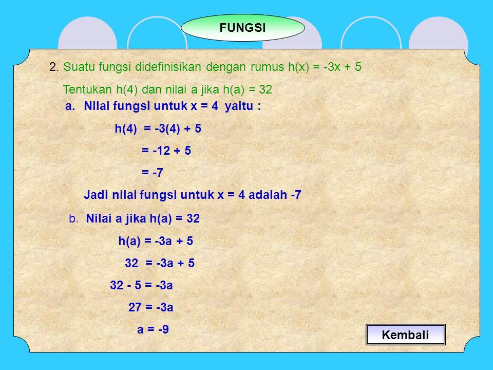 FUNGSI 2. Suatu fungsi didefinisikan dengan rumus h(x) = -3x + 5 Tentukan h(4) dan nilai a jika h(a) = 32 a.Nilai fungsi untuk x = 4 yaitu : h(4) = -3