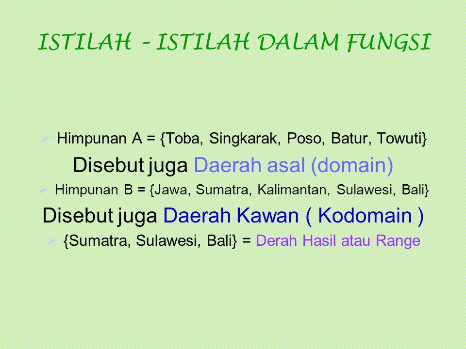 ISTILAH – ISTILAH DALAM FUNGSI  Himpunan A = {Toba, Singkarak, Poso, Batur, Towuti} Disebut juga Daerah asal (domain)  Himpunan B = {Jawa, Sumatra,