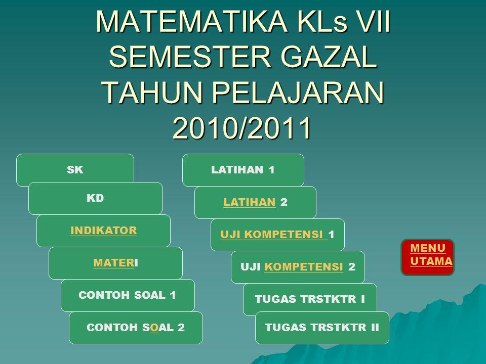 MATEMATIKA KLs VII SEMESTER GAZAL TAHUN PELAJARAN 2010/2011 SK LATIHANLATIHAN 2 INDIKATOR KD CONTOH SOAL 2O UJI KOMPETENSI UJI KOMPETENSI 1 TUGAS TRST