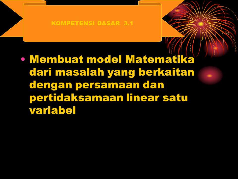 Membuat model Matematika dari masalah yang berkaitan dengan persamaan dan pertidaksamaan linear satu variabel KOMPETENSI DASAR 3.1