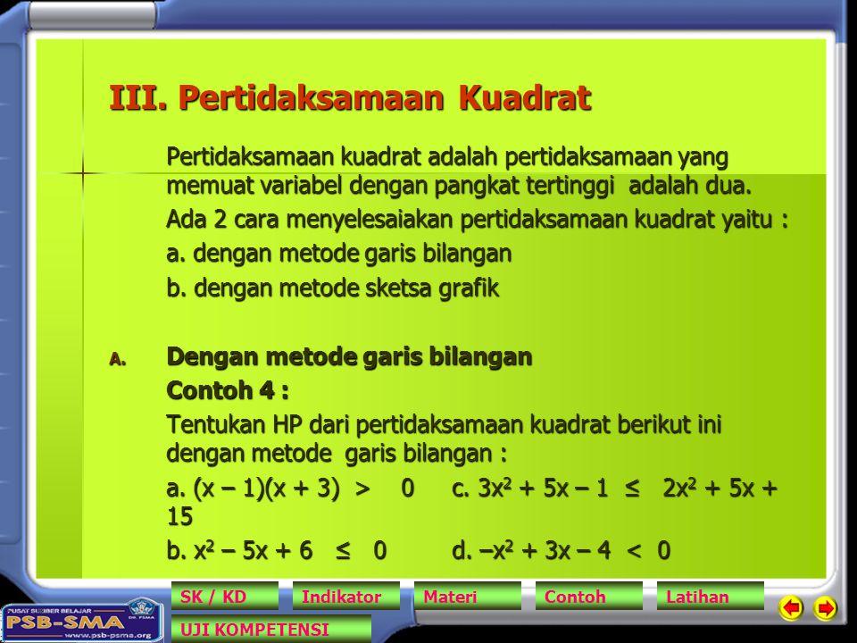 III. Pertidaksamaan Kuadrat Pertidaksamaan kuadrat adalah pertidaksamaan yang memuat variabel dengan pangkat tertinggi adalah dua. Ada 2 cara menyeles