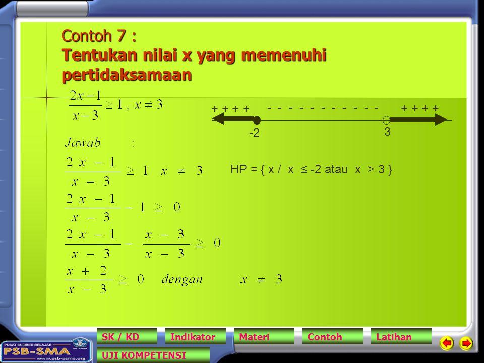 Contoh 7 : Tentukan nilai x yang memenuhi pertidaksamaan -2 3 + + - - - - - - - - - - - HP = { x / x ≤ -2 atau x > 3 } SK / KDIndikatorMateriContohLatihan UJI KOMPETENSI